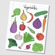 Stock Vector: Vegetables doodles - lined paper