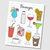 Beverages doodles - lined paper — Stock Vector