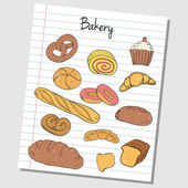 Bakery doodles - lined paper — Stock Vector