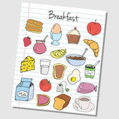 Breakfast doodles - lined paper — Stock Vector