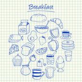 Breakfast doodles - squared paper — Stock Vector