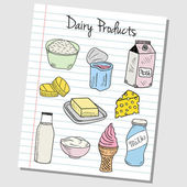 Dairy products doodles - lined paper — Stock Vector