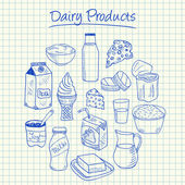 Dairy products doodles - squared paper — Stock Vector