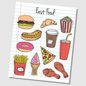 Fast food doodles - lined paper — Stock Vector