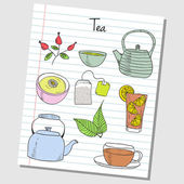 Tea doodles - lined paper — Stock Vector