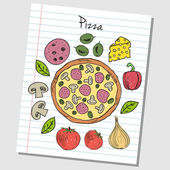 Pizza doodles - lined paper — Stock Vector
