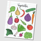 Vegetables doodles - lined paper — Stock Vector
