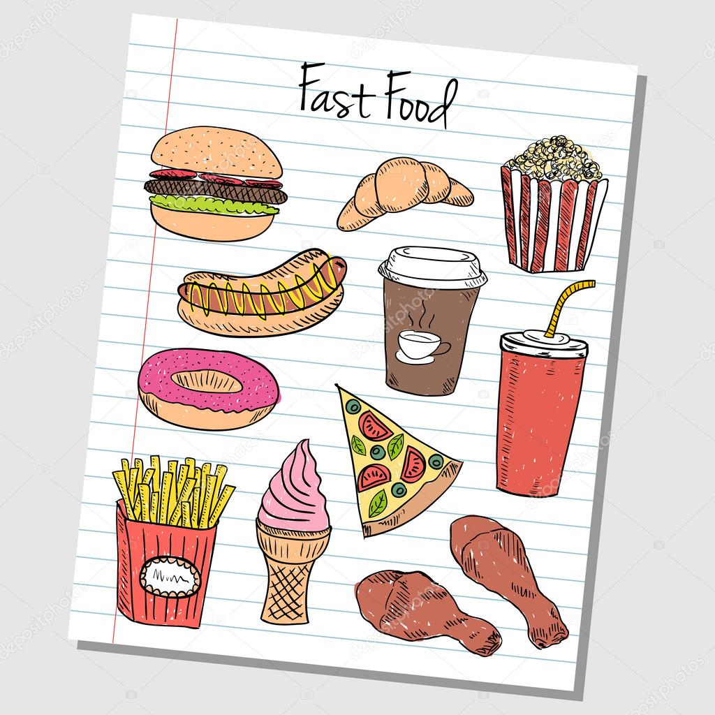 fast food doodles lined paper stock vector copy kytalpa  illustration of fast food colored doodles on lined paper vector by kytalpa