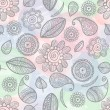 Vettoriale Stock : Flower doodles watercolor seamless pattern