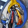 Climbing equipment - carabiners and harness — Stock Photo