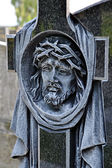 Head of Christ carved in the cross — Stock Photo