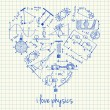 Постер, плакат: Physics drawings in heart shape