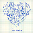 Science drawings in heart shape — Stock Vector