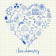 Stock Vector: Chemistry drawings in heart shape