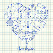 Physics drawings in heart shape — Stock Vector