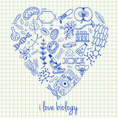 Biology drawings in heart shape — Stock Vector