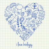Biologie-Zeichnungen in Herzform — Stockvektor