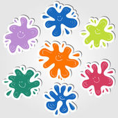 Ink blots stickers — Stock Vector