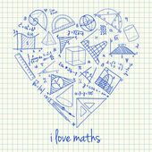 Maths drawings in heart shape — Stock Vector