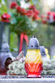 Candle the a grave — Stock Photo