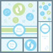 Baby shower card set — Stock Vector