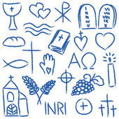 Religious chalky symbols — Stock Vector