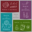 Back to school doodles on banners — Vector de stock