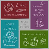 Back to school doodles on banners — Stock Vector