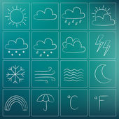 Weather chalky icons — Stock Vector