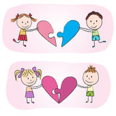 Kids with heart puzzle — Vector de stock