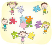 Kids playing with puzzle — Vector de stock