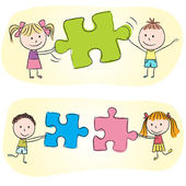 Kids playing with puzzle — Stockvector