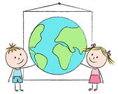 Kids with planet — Stock Vector