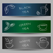 Tea chalky doodles on banners — Stock Vector