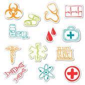 Pegatinas médicos coloreados — Vector de stock