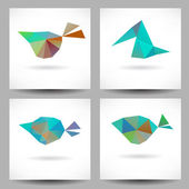 Backgrounds with abstract triangle birds — Stok Vektör