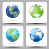 Backgrounds with triangular planet Earth — Stock Vector