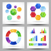 Set of charts with abstract triangles — Stock Vector