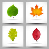 Set of backgrounds with triangular leaves — Stok Vektör