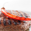 Roaster meat with garnish — Stock Photo