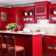 Bright brand new european kitchen — Photo