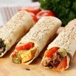 Hot shawarma with vegetables — Stock Photo