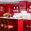 Bright brand new european kitchen — Stock Photo