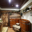 Interior of russian wooden sauna — Foto Stock