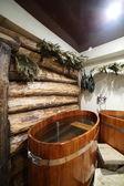 Innere des russischen Holz sauna — Stockfoto