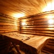 Interior of russian wooden sauna — Foto de Stock