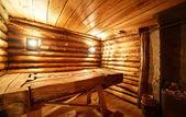 Interior da sauna de madeira russo — Fotografia Stock