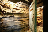 Interior of russian wooden sauna — Stock Photo