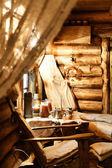 Interior of russian wooden sauna — Stock Photo