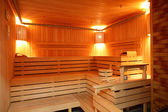 Interior of modern wooden sauna — Stock Photo